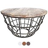 casamia Couchtisch Wohnzimmer-Tisch rund Beistelltisch Lexington ø 55 cm Metall Drahtgestell Gitter massiv Color weiß gekälkt
