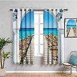ZLYYH Gardine Wohnzimmer Blau Himmel Strand Landschaft 280x240cm Blickdichte Vorhänge Muster Vorhang für Wohnzimmer/Schlafzimmer Dekoschal Blickdichte Gardinen mit Ö