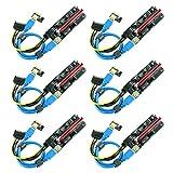 Ubit PCIE Riser 1 x bis 16 x Grafikerweiterung für Bitcoin GPU Mining Powered Riser-Adapterkarte, 4 Feste Kondensatoren, 60 cm USB 3.0-Kabel,6-Pack