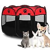 Faltbares Haustier Zelt, Tragbar Welpenlaufstall Tierlaufstall Mit Atmungsaktives Netz, Zaun Für Innen- Und Außenbereich Katzen Kaninchen Meerschweinchen 68 x 45 cm