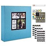 Benjia Fotoalbum, traditionell, selbstklebend, groß, blanko, Stoff, mit Sticker, für 10 x 15 cm, 11,5 x 15 cm, 13 x 18 cm (50 Blatt/100 Seiten, Teal)