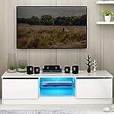 Fernsehschrank weiß Hochglanz, Galaga TV-Schrank mit LED-Leuchte TV-Bank 120x38x30 cm