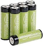 Amazon Basics AA-Batterien, wiederaufladbar, vorgeladen, 8 Stück (Aussehen kann variieren)