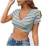 Crop Top Damen Oberteil Damen Sommer Frauen Teenager Mädchen Sexy V Ausschnitt Kreuz Oberteil Sport Bauchfrei Weste Tanktops Vest Bluse Hemd T Shirt Kurzarm Shirt