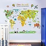 ufengke Cartoon Weltkarte Niedlichen Tier Wandsticker,Kinderzimmer Babyzimmer Entfernbare Wandtattoos Wandbilder