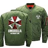 Homejuan Herren Bomberjacke - Casual Lightweight Sportswear Jacket Langarm Fluganzug Mit Reißverschlusstaschen Green-X-Large