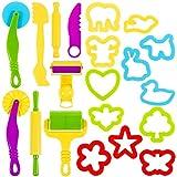 Lictin Knetwerkzeug Knete Zubehör 20 Pcs Teig Plastilin Werkzeuge Teigwerkzeug Ausstechformen Spielzeug