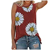 Tops für Damen, Shirt Damen, Frauen Sommer Tops O-Ausschnitt Daisy Print Ärmellose Tank T-Shirts Grafik Bluse, 4-Rot, L