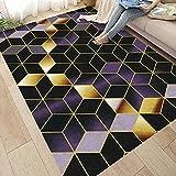 Teppich zimmerdeko Das gleitende Schwarze braune gelbe geometrische Design verblasst Nicht den Teppich Teppich kinderzimmer rund waschbarer Teppich Wohnzimmer 50*120CM