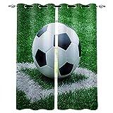Vorhang mit ösen Grasfußball Vorhang Blickdicht,Thermovorhang und verdunklungsgardinen für Kinderzimmer Junge Mädchen, Schlafzimmer/Wohnzimmer deko 2 Stücke110 x 215 cm