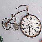 WRISCG Dekorative Uhr Orologio da Parete Country Ferro Battuto Biciclette Orologio Orologio da Parete Retro Vecchio Muro di Biciclette MUTO MUTO dell'orologio 58 * 42 (cm)
