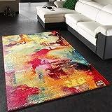 Paco Home Teppich Modern Design Teppich Leinwand Optik Multicolour Grün Blau Rot Gelb, Grösse:80x150