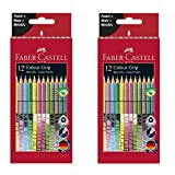 Faber-Castell 201569 Buntstift Sonderfarbset, Colour Grip, 12er Etui (Sonderfarbset 12er Doppelpack)