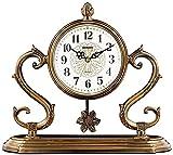 qwert Kaminuhr Mit Pendulum Kamin Uhr Zogenes Kupfer-Retro Tischuhr Mute Desktop-Batteriebetriebene, Dekor-Geschenk Haushalt