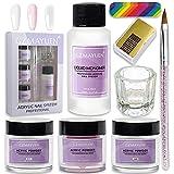 Acryl Nagelset Acryl Nägel Acryl Nagelset Starterset Komplett Acryl Liquid Acryl Pulver Nails Weiß Klar Rosa zum Nagelverlängerung
