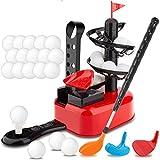 Junior Golfer Deluxe Kids Golf Trainer Automatische Abschlagmaschine Spielset mit 15 Bällen, Golfschläger und 3 Köpfen   Indoor