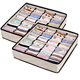 XCOZU Aufbewahrungsbox,2 Stück Aufbewahrungsboxn Stoff Schrank Ordnungssystem Kleiderschrank Schubladen Organizer,24 Zellen Faltbare Ordnungsbox für Unterwäsche Aufbewahren,Socken,Schals,Büstenhalter