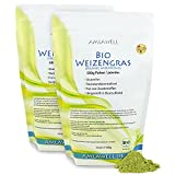 Amlawell Bio Weizengras Pulver - Vegan - Superfood - mit Vitalstoffen - aus deutscher Herstellung - 2x500 g - DE-ÖKO-039