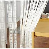 QTQHOME Jacquard Tür String Vorhang,Polyester Kariert Fringe Vorhang Partition Sondesvorhang Zimmerteiler Für Home Décor Von Windows Weiß W100xh200cm