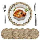 BOSWELL 6 Stück natürlich gewebte Tischsets für Esstisch, rund geflochtene Rattan-Tischsets als Platzsets, Untersetzer oder Topflappen (30,6 cm Cattail)