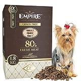 Empire Hypoallergen-Hundefutter Trocken-Getreidefrei-Erwachsene Hunde-Kleine Rassen-1,8kg-Glutenfrei-50% Frisches Wildfleisch-100% Natü