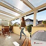 Acrylshop24 Terrassendach Terrassenüberdachung Carport Komplettset Polycarbonat 16mm X-Struktur Stegplatten farblos 16mm Stegplatten Tiefe:4000mm|Breite:4100mm - Mehrere Maße verfügb