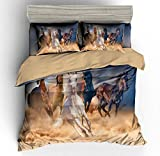 BTBDWOSW® Tierpferd Bettwäsche Set 135X200 cm Mikrofaser Bettbezug Set - 3 Teilig Weiche Atmungsaktive Bettbezüge Mit Reißverschluss 2 Kissenbezüge - Anti-Allergien Pflegeleicht
