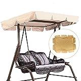 Jtoony Hollywoodschaukel-Abdeckung, 2/3-Sitzer-Größe, Khaki, UV-beständig, für den Außenbereich, Garten, Terrasse, Schaukel-Sonnenschutz, wasserdicht, Überdachung für den Außenb