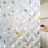LMKJ Statische frisch haltende Fensterfolie geometrische Form Blumendekoration Glasaufkleber, verwendet für Fensterglas Sichtschutzaufkleber A94 60x200cm