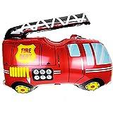 ballonfritz® Feuerwehrauto Ballon - XXL Luftballon 85x80x25cm als Geburtstagsgeschenk, Party-Deko oder Überraschung für den Kindergeburtstag