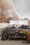 BOHORIA® Tagesdecke extra groß 220 x 240cm | 100% Baumwolle | Überwurf für Sofa, Sessel & Bett | Kuscheldecke Sofadecke Wolldecke Wohndecke (Palm)