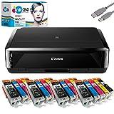 Canon PIXMA IP7250 Tintenstrahldrucker + USB Kabel & 20 kompatible Druckerpatronen der Marke ink24 (Drucken per USB oder WLAN) /OHNE Originalpatronen