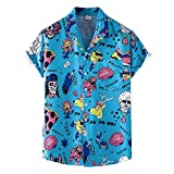 Hawaii Hemd Herren Sommer Mode Knopfleiste Männer Freizeithemden Losse-Fit V-Ausschnitt Kurzarm T-Shirt Wicking Breathable Herren Sportshirt XH81 M