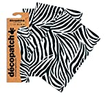 Decopatch Papier No. 429 (40 x 30 cm) 3er Pack schwarz weiß zebra