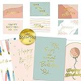 Gloria Therese - Geburtstagskarten mit Goldfolie - 10 hochwertige Glückwunschkarten, Postkarte zum Geburtstag - Happy Birthday Karten als Postkarten Set - Grußkarte für Frauen, Mann, Mädchen, Kinder