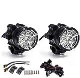 Paar Motorrad Scheinwerfer Frontscheinwerfer Zusätzliches Nebelscheinwerfer Licht Zusätzlich für Moto QUAD mit Schalter und Halterung 45W 3000 LM 12V-80V