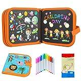 Sinwind Kinder Zeichentafeln, Abwischbares Malbuch für Kinder, Graffiti-Zeichenbrett, Tragbares Löschbares Doodle Pad, 14 Seiten Wiederverwendbares Zeichenbrett mit 12 Farbstifte