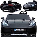 Elektrisches Kinderauto XXL Elektroauto YSA-021 Supercar mit echtem bürstenlosem 24V/180W Motor, riesengroßer Zweisitzer, Metall-Chassis, 15kmh schnell (SCHWARZ)