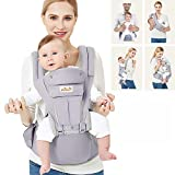 Viedouce Babytrage Ergonomische mit Hüftsitz/Reine Baumwolle Leicht und atmungsaktiv/Multiposition:Dorsal, Ventral, Einstellbar für Neugeborene und Kleinkinder von 0 bis 4 Jahren (3,5 bis 20 kg)