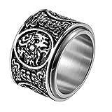 JewelryWe Schmuck Retro Herren-Ring Edelstahl Uralte 4 Wächter Bestien Chinesisch Mythologie Ringe Drehbar Bandring Band mit Gravur Größe 70