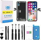 LTZGO OLED Ersatz für iPhone X Display Schwarz Bildschirm mit Komplettem Reparatur Kit, Werkzeug Reparaturset, inkl. Glas, OLED Touchscreen mit Adhesive Sticker - A1865, A1901, A1902