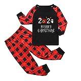eiuEQIU Weihnachten Schlafanzug Familien Outfits Mutter Vater Kind Mädchen Junge Nachtwäsche Weihnachts Druck Nachthemd Plaid Schlafanzugoberteile Pants Hose Homewear Pyjama Zweiteiliges Set