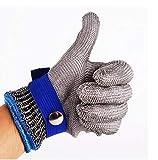 Bescita Schnittschutzhandschuhe Schnittfeste Handschuhe Schnittfeste Handschuhe Kettenhandschuhe aus 100% Edelstahl-Metal Mesh Metzgerhandschuh Schnittfeste Handschuhe (S, Blau)