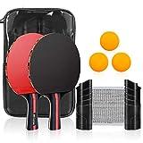CestMall Tischtennispaddel, Tischtennis-Set mit 2 Tischtennispaddeln und 3 Tischtennisbällen, einziehbarem Netz, Aufbewahrungstasche, perfekt für professionelle und Freizeit-Tischtennisspiele