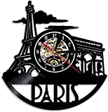 Wanduhr aus Vinyl, Motiv: Paris, Stadt, modern, frischer Hintergrund, Paris, Innenraum, W