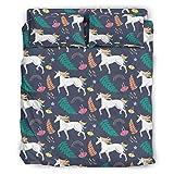 STELULI 4-teiliges Bettwäsche-Set mit Regenbogen-Einhorn, Individualität, faltenfreier Stil, Bett-Set, weiß, 175 x 218 cm