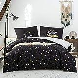 QZY Bettwäsche 200 x 200cm Super Weiche Mikrofaser Bettbezug 200x200cm mit Zwei 80x80cm schwarz und weiße gelbe Sterne