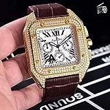 HHBB Luxus Chronograph Herren Stoppuhr Saphir Diamant Gehäuse Rosegold Silber Schwarz Leder Sport Uhren Gold Weiß