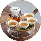 Vorratsdosen Glas Schwarzer Tee Kung Fu Tee Set Haushaltsfilter Teekanne Teetasse Wasseraufbewahrung trockener Tee-Tablett Haushalts-Tee-Set (Color : B, Size : 19.5 * 19.5 * 7.5CM)