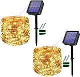 [2 Stücke] Usboo® Solar Lichterkette, 150 warmweiße LEDs 15 Meter für Außen& Innen mit wasserdichten Kupferdrähten für Dekorationen, Feste, Garten, Balkons, Partys, Hochzeiten, Camping, DIY usw.